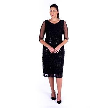 Nidya Moda Tül Kol Pullu Dantel Siyah Abiye Elbise-4112S