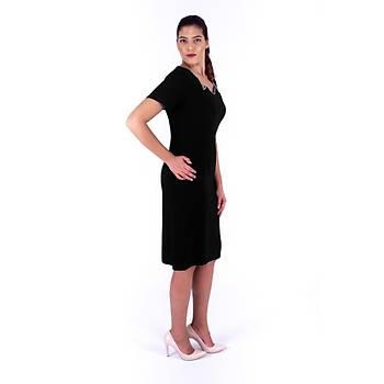 Nidya Moda Büyük Beden Kadýn Siyah Taþlý  Zikzak Yaka Abiye Elbise-4110S
