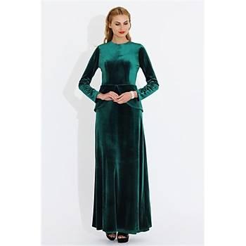 Nidya Moda Büyük Beden Kadife Peplumlu Uzun Elbise-4044Y