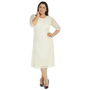 Nidya Moda Büyük Beden Ekru Dantel Abiye Elbise-4036E