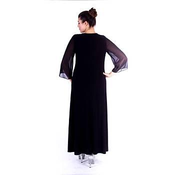 Nidya Moda Þifon Kol Dantel Kombin Uzun Sandy Siyah Abiye Elbise-4114S