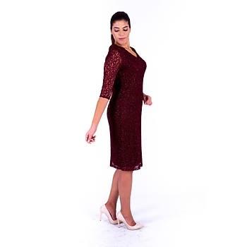 Nidya Moda V Yaka Simli Bordo Dantel Abiye Elbise-4009YB
