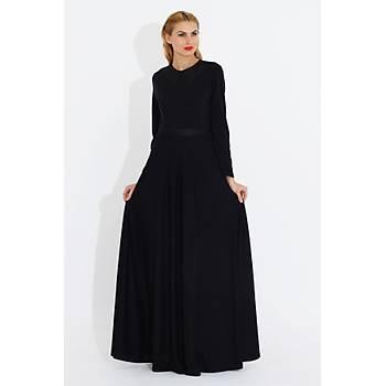 Nidya Moda Kadýn Siyah Deri Kombin Uzun Elbise-4041S
