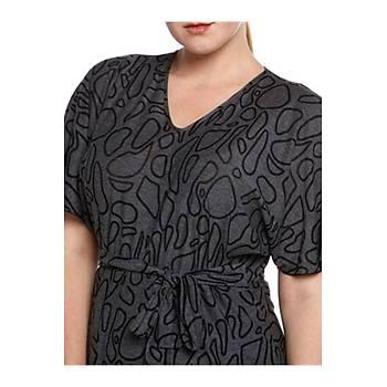 Nidya Moda Büyük Beden Triko Elbise-4071JG