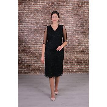 Nidya Moda Büyük Beden Kadýn Siyah Dantel Elbise-4147S
