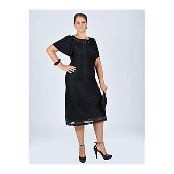 Nidya Moda Büyük Beden Aksesuarlý Dantel Siyah Abiye Kaplama Elbise-4026DS