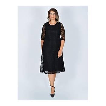 Nidya Moda Büyük Beden Sýfýr Yaka Siyah Dantel Abiye Elbise-4036S