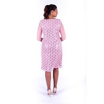 Nidya Moda Tül Kol Pullu Dantel Pembe Abiye Elbise-4112P