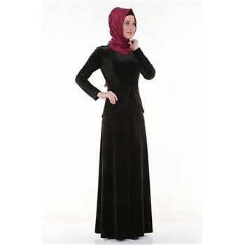 Nidya Moda Büyük BedenTesettür Peplumlu  Elbise-4044S