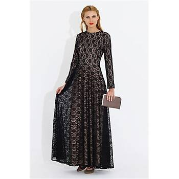 Nidya Moda Büyük Beden Dantelli Uzun Elbise-4051P