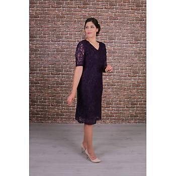 Nidya Moda Büyük Beden Kadýn Mor Dantel Elbise-4161M
