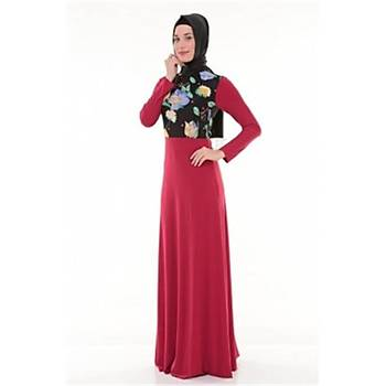 Nidya Moda Tesettür Üst Çiçekli Elbise-4046K