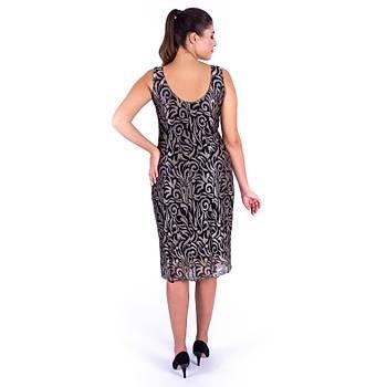 Nidya Moda Dalga Yaka Gold Brokar Dantel Siyah Abiye Elbise-4136S