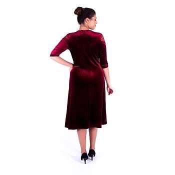 Nidya Moda Çiçek Motifli Tül Kombin Bordo Kadife Abiye Elbise-4123B