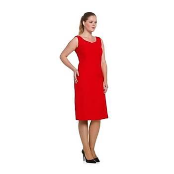 Nidya Moda Büyük Beden Dalga Yaka Elbise-4065KK
