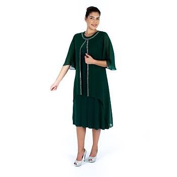 Nidya Moda Üst Asimetrik Þifon Taþlý Yeþil Sandy Abiye Elbise-4132Y