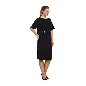 Nidya Moda Büyük Beden Sýrt V Pullu Payetli Kemer Elbise-4020PL