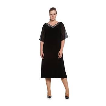 Nidya Moda Büyük Beden V TaþlýYaka Þifon Kol Siyah Sandy Abiye  Elbise-4053S