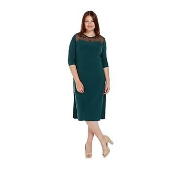 Nidya Moda Büyük Beden Tül Kombin Elbise-4078AY