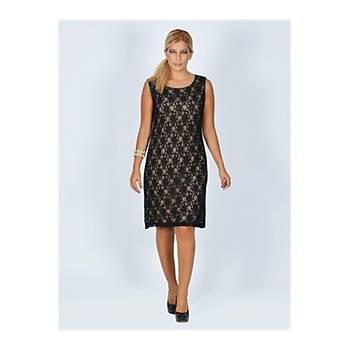 Nidya Moda Büyük Beden Siyah Dantel Abiye Vizon Elbise-4009V