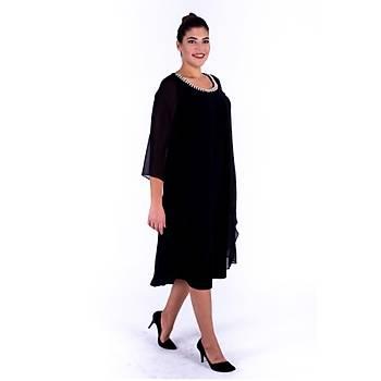 Nidya Moda Üst Katlý Þifon Ýnci Yaka Siyah Sandy Abiye Elbise-4144S