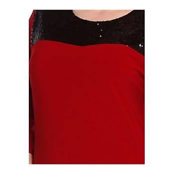 Nidya Moda Büyük Beden Pullu Payet Kombin Kýrmýzý Sandy Abiye Elbise-4055K