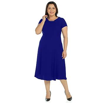 Nidya Moda Büyük Beden Sem Krep Elbise-4088SX