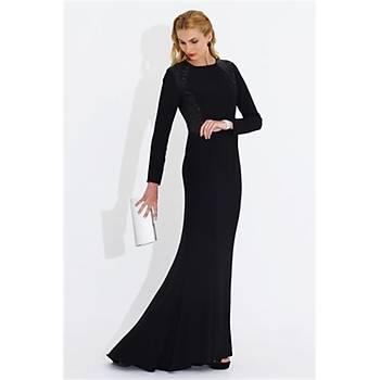 Nidya Moda Büyük Beden Pullu Payetli Uzun Elbise-4048PS