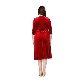 Nidya Moda Kadýn Kýrmýzý Bahar Yaka Kadife Abiye Elbise-4076AK