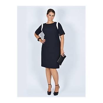 Nidya Moda Büyük Beden Ay Kombin  Lacivert Elbise-4031L