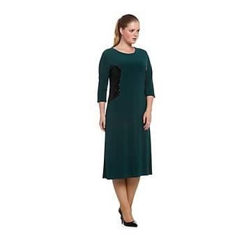 Nidya Moda Büyük Beden Pullu Payet Kombin Elbise-4059P
