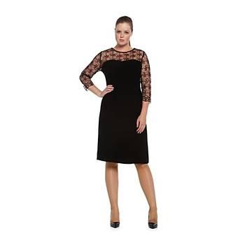 Nidya Moda Büyük Beden Roba Kol Dantel Elbise-4063S