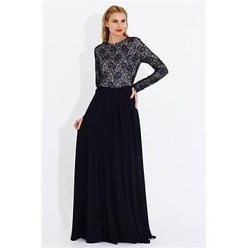 Nidya Moda Büyük Beden Dantel Kombin Elbise-4045DL