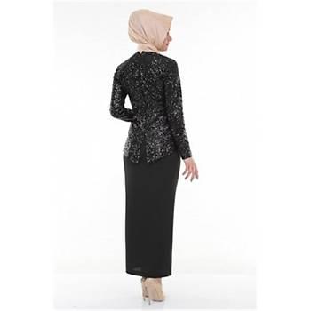 Nidya Moda Büyük Beden Tesettür Pullu Payet Peplum Tunik-5010S