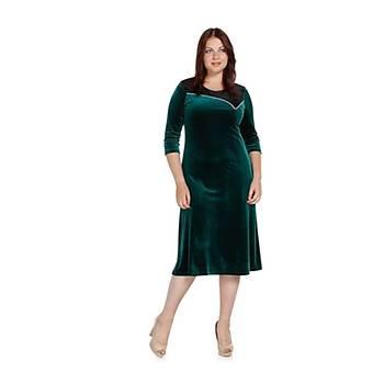 Nidya Moda Büyük Beden Taþlý Kombinli Elbise-4073Y