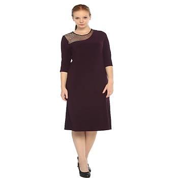 Nidya Moda Büyük Beden Ýþli Tül Sandy Elbise-4089M