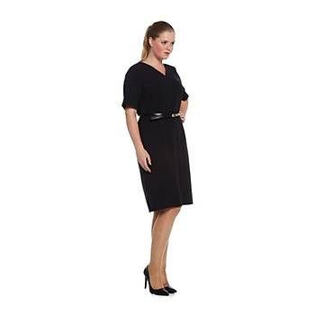 Nidya Moda Büyük Beden V Yaka Kemerli Elbise-4027AL