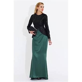 Nidya Moda Uzun Saten Balýk Etek-3003Y