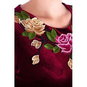 Nidya Moda Tül Kol Gül Aplik Yaka Bordo Kadife Abiye Elbise-4125B