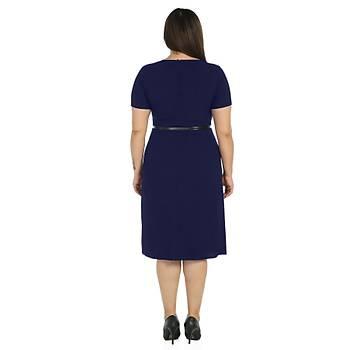 Nidya Moda Büyük Beden Kadýn Lacivert Çift Yýrtmaç Abiye Elbise-4086L