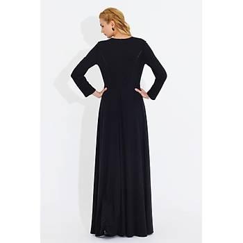 Nidya Moda Kadýn Siyah Deri Biyeli Uzun Elbise-4042S