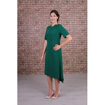 Nidya Moda Büyük Beden Kadýn Yeþil Ön Kýsa Arka Uzun Krep Elbise-4151Y