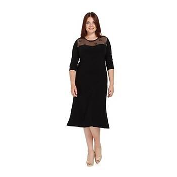 NidyaModa Büyük Beden Ayna Tül Kombinli Elbise-4078AS