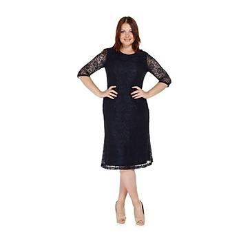 Nidya Moda Büyük Beden Dantel Lacivert Abiye Elbise-4036L