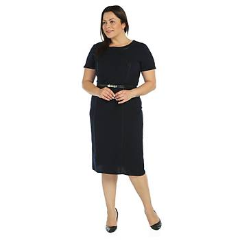 Nidya Moda Büyük Beden Deri Biyeli Elbise-4084LD