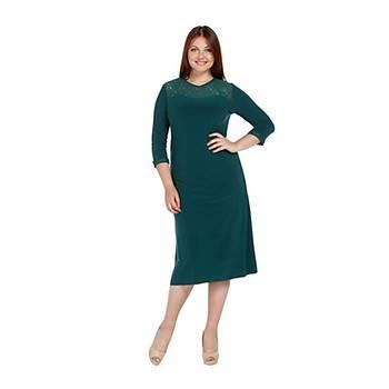 Nidya Moda Büyük Beden Dantel Kombinli Elbise-4078DY