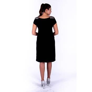 Nidya Moda Omuz Taþlý Ýþleme Siyah Vako Sandy Abiye Elbise-4035TS