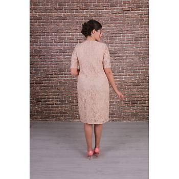 Nidya Moda Büyük Beden Kadýn Bej Dantel Elbise-4161B