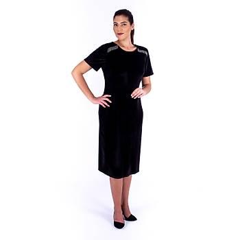 Nidya Moda Zincir Aksesuarlý Siyah Kadife Abiye Elbise-4122S
