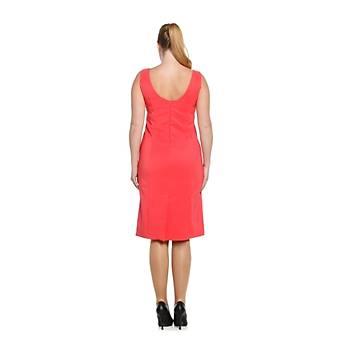 Nidya Moda Büyük Beden Kadýn Somon Dalga Yaka Abiye Elbise-4065SM